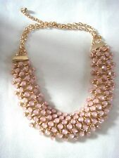 New Womens Vintage Style Opalescent Pink Large Bib Statement Goldtone Necklace