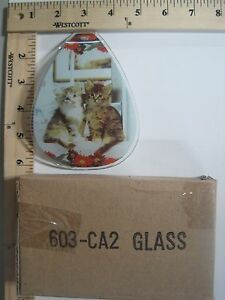 FREE US SHIPPING ok touch lamp replacement glass Panel Kitty Cat Kittens 603-CA2