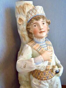 Antique Gorgeous DRESDEN MEISSEN 5 LIGHT CANDELABRA Soft Blue Male Figurine Base