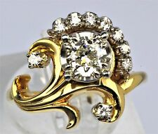 JABEL Antique Vintage Old European Diamond 14K Gold Engagement Ring c.1940's