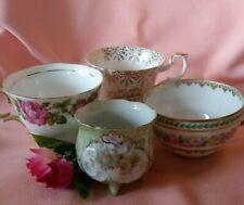 Vintage Lot of 4 Floral & Birthday & Other Mismatched Teacups (Teacups Only)