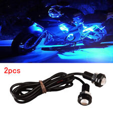 1 Pair Small Blue LED Black DOME Motorcycle-Chopper-Bobber Turn Signal Lights