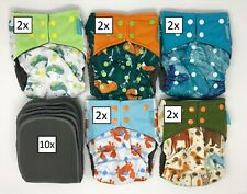 10x Happy Flute Reusable Cloth Diapers Pocket Charcoal Bamboo (+10 Inserts)