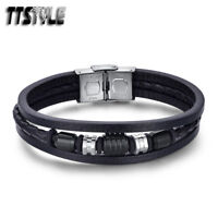 TTStyle Black Leather 316L S.Steel Silver/Black Bead Bracelet Wristband NEW