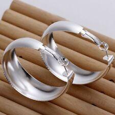 Women's 925 Sterling Silver Shiny Party Egg Oval Shape Hoop Dangle Earrings
