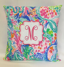 "Lilly Pulitzer PB Mermaid Cove Handmade 16""x16"" Pillow Letter ""M"" New"