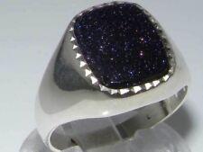 Luxury Sterling Silver Mens Blue Goldstone Signet Ring
