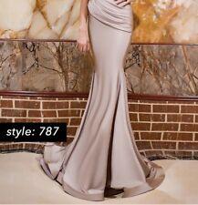 Jessica Angel Dress Style 787- Mauve/ Blush Color Long Stretch Satin Dress
