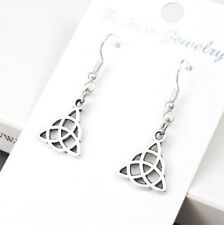 925 Sterling Silver Hooks Vintage Silver Alloy Trinity Celtic Knot Earrings NEW