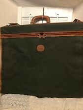 Authentic Burberry Nova Check Garment Bag Luggage Green Canvas Leather Trim 24""