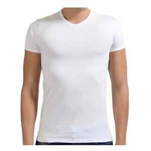 Versace Collection Mens T-Shirt Size XL White V-Neck Short Sleeve Stretch Slim