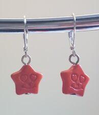 Delicate orange resin star charm handmade earrings 925 silver earwires hooks