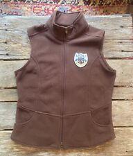 Womens Medium Ariat Brown Vest Full Zip Patch Performance Equestrian M