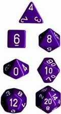 Polyhedral 7-Die Opaque Chessex Dice Set - Purple with White Numbers CHX 25407