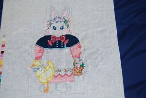 Shelly Tribbey Handpainted Needlepoint Canvas Girl Rabbit #E22 NEW