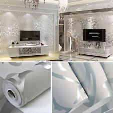 10M Luxury 3D Flower Flocking Wallpaper Roll for Living Room Bedroom Silver Grey