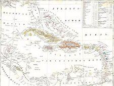 🏴☠175 Jahre alte Landkarte KARIBIK Antillen Jamaica Cuba Haiti Puertorico 1844