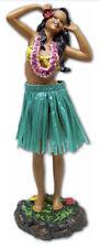"""Hawaiian Dashboard Doll 7"""" Hula Girl Dance Pose Hawaii Hawaiiana Green Skirt New"""