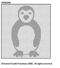 PENGUIN Filet Crochet Pattern