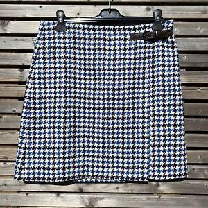 Boden Size 14 R Navy Blue Mix Pure Wool British Tweed Mini Skirt BNWOT