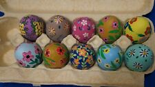 Set Of Eleven Vintage Hand Painted Ceramic Eggs Hand Painted From Mexico