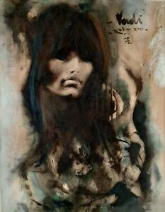 YEHUDA VARDI (1933-1990), Huge Watercolor on Paper , Pretty Lady , Signed, 1970