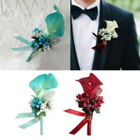 1pc Bridal Boutonniere Groom Artificial Flower Calla Berry Corsage Wedding Party