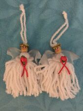 """Set Of 2 Handmade 4 1/2"""" Angel Ornaments Holding A Red Heart"""