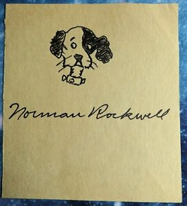 NORMAN ROCKWELL signed sketch in black pen of his dog RALEIGH