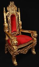 MINI Lion Throne Chair - 3 Feet Tall Child or Doll Size - Gold finish / Red Velv