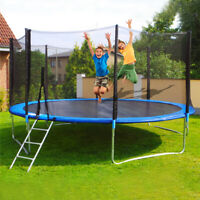Trampolines 12 Foot Round Outdoor Trampoline with Enclosure W/Spring Pad Ladder