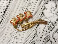 1940s Brooch Cold Enamelled Huge Statement Red Floral Pin Jewellery