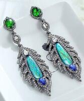 1 Pair Elegant Green Crystal Rhinestone  Ear Drop Dangle Stud long  Earrings 95