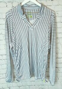 LUCKY IN LOVE Womens' White Striped V-Neck Tennis Shirt Size XL