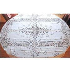Vintage Handmade Point de Venise Needle Lace and Linen Tablecloth Esso Oil Prov.
