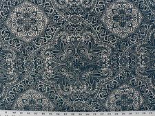 Drapery Upholstery Fabric Flocked Velvet Suzanni Medallion 9K Dbl Rubs - Navy