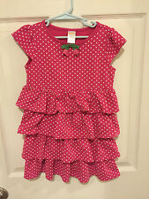 Gymboree Girls 5 Bright Tulip Pink White Polka Dot Tiered Ruffle Dress Floral