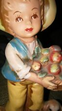 "Vintage Napco Arcadia Farm Child With Apples And Dog Porcelian Figurine. 6"""