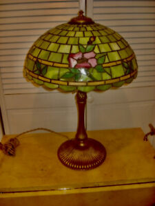 Vintage Leaded Lamp With  Floral Shade by Wilkinson