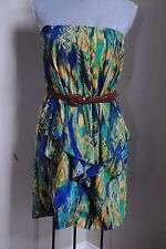 women's size M CITY TRIANGLEs Strapless Dress Tribal Native Green Gold belted