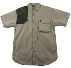 Browning Mens Hunting Shooting Shirt Padded Shoulder Vented Size S Khaki