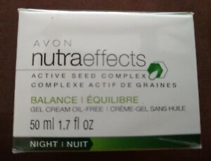AVON NUTRAEFFECTS ACTIVE SEED COMPLEX BALANCE GEL CREAM NIGHT ,1.7 FL OZ NIB