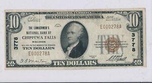 RC0243 1929 national currency Chippewa Falls chart # 3778 combine