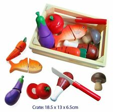 Fun Factory Wooden Play FOOD Crate with Knife Pretend Kitchen Cutting Toy