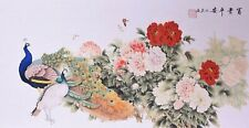 100% ORIENTAL FINE ART CHINESE FAMOUS WATERCOLOR PAINTING-Peacock birds&Flowers