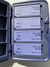 Lot 4 - Sony Genuine Memory Sticks 256MB 128MB x2 MSA-128S2 Camera Cards & Case