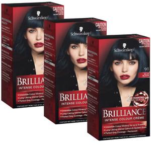 3x Schwarzkopf Brilliance Intense Hair Colour Creme - 91 Blue Black