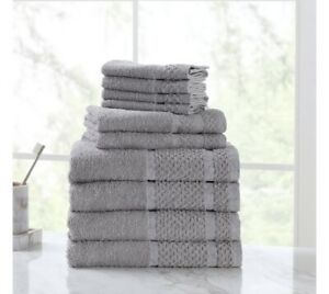 New 10 Piece Towel Set 100% Cotton Bath Towels Wash Cloths Hand Dry Absorbent
