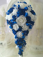 LARGE Wedding Brides Teardrop Bouquet in Royal Blue and White
