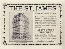 "ST. JAMES HOTEL Fireproof Vintage Philadelphia PA 1906 6x9"" REPRINT AD Antique"